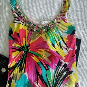 CACHE Beaded Silk Floral Tank